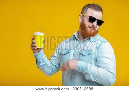 Red Beard Man In Sunglasses Holding Paper Cup With Bad Coffee. Stop Drinking Coffee