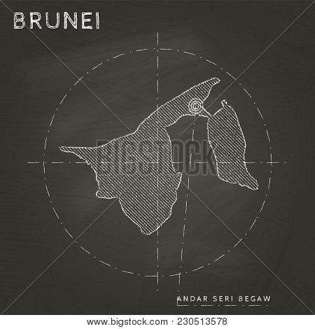 Brunei Chalk Map With Capital Marked Hand Drawn On Textured School Blackboard. Chalk Brunei Outline
