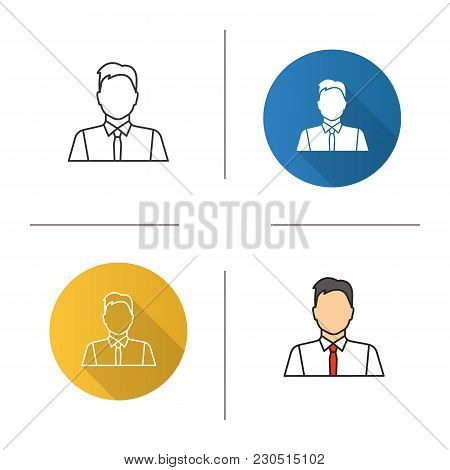 Office Worker Icon. Flat Design, Linear And Color Styles. Party Maker, Showman. Businessman, Admin,