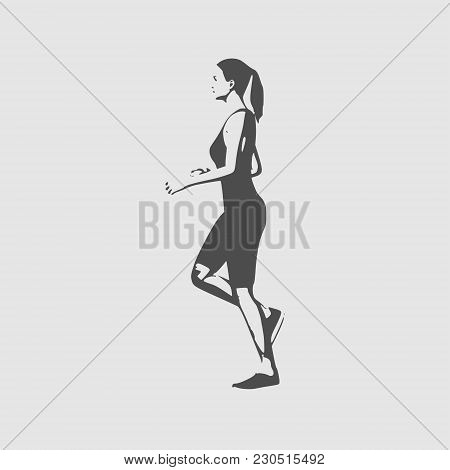 Running Woman. Side View Silhouette. Sport And Recreation