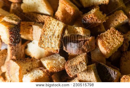 Crumbs Of Bread As Background . Photo Of An Abstract Texture