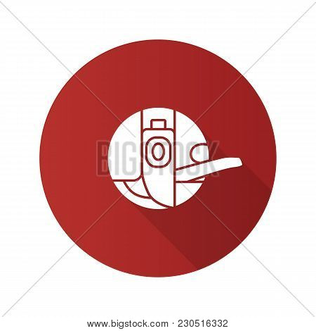 Bobbin Case Flat Design Long Shadow Glyph Icon. Sewing Machine Part. Vector Silhouette Illustration