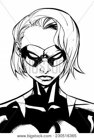 Black And White Illustration Of The Portrait Of A Powerful Masked Superheroine Looking At Camera Wit