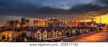 Las Vegas, Nevada, Usa - May 20, 2016 : Sunset Panorama Above Casinos On The Las Vegas Strip