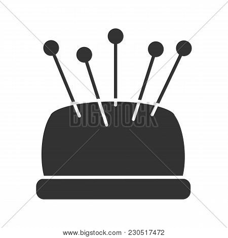 Pincushion With Pins Glyph Icon. Silhouette Symbol. Negative Space. Vector Isolated Illustration
