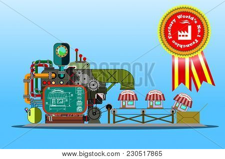 Flat Art Business Concept Illustration. Franchise Factory Showing How Basic Idea Can By Multiplied B