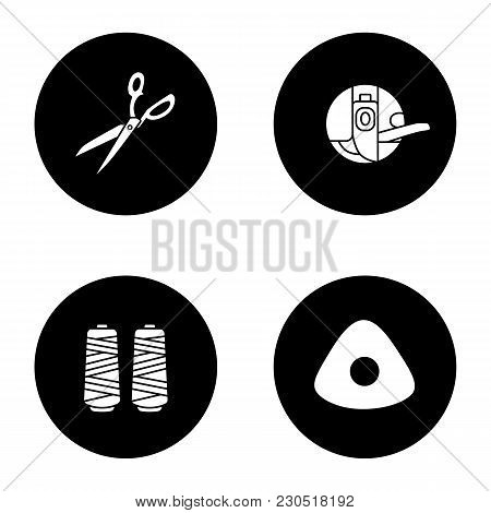 Tailoring Glyph Icons Set. Fabric Scissors, Bobbin Case, Thread Spool, Sewing Chalk. Vector White Si