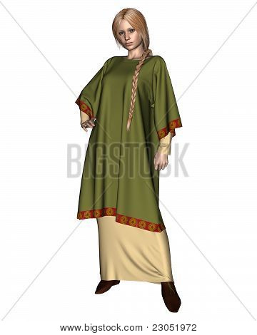 Saxon or Viking Woman in Green Tunic