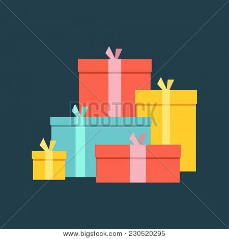 Big Pile Of Colorful Wrapped Gift Boxes. Big Pile Of Presents, Surprises. Isolated On Dark Backgroun
