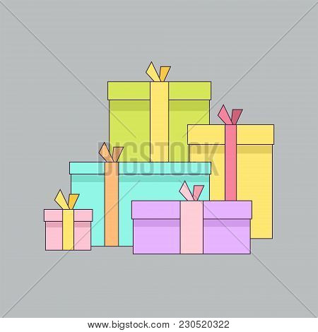 Big Pile Of Colorful Wrapped Gift Boxes. Big Pile Of Presents, Surprises. Isolated On Gray Backgroun
