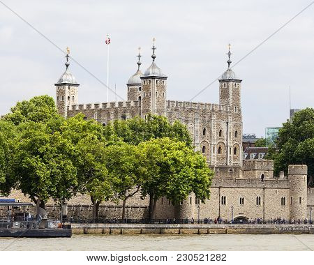 London, United Kingdom - June 22, 2017: Tower Of London, Medieval Defense Building By The River Tham