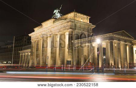 Night View Of Brandenburg Gate In Berlin, Germany