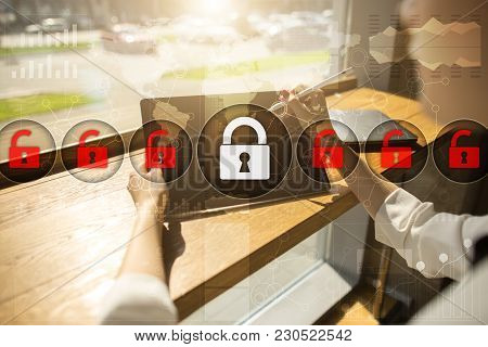 Cyber Security, Data Protection, Information Safety And Encryption. Internet Technology And Business