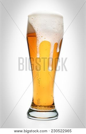 Glass Full Of Amber Beer Isolated