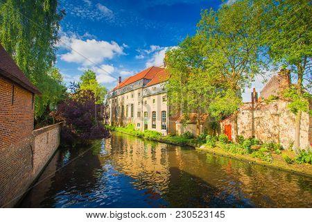Bruges, Belgium. Sunny Cityscape Of Brugge In Spring.
