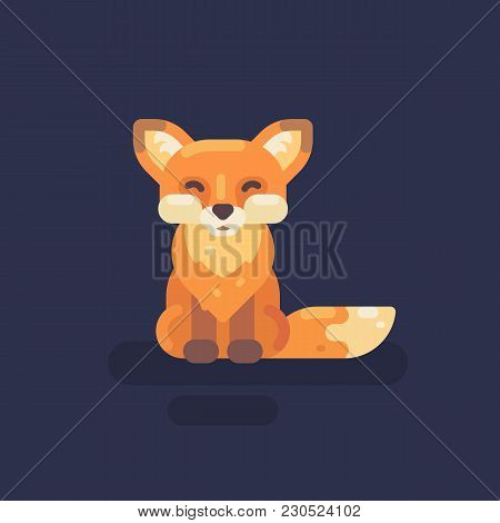 Cute Little Fox Flat Illustration. Smiling Fox Flat Icon