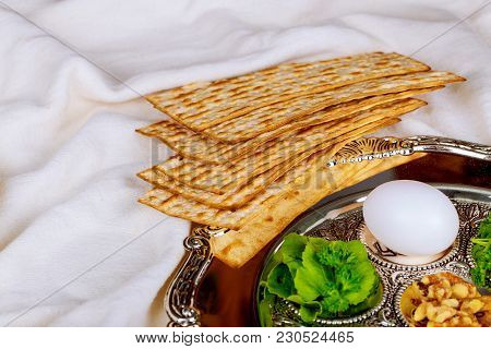 Pesach Matzo Passover With Matzoh Jewish Passover Bread Top View Of Passover Background