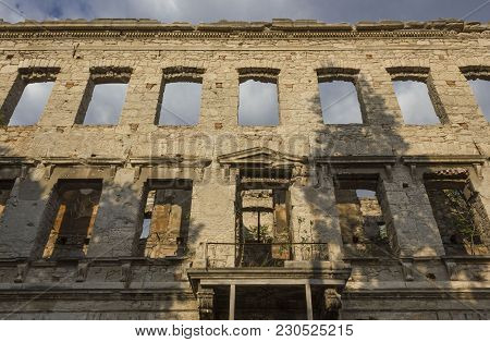 Mostar, Bosnia And Herzegovina - August 16 2017: Building Ruin In Mostar, After The Bombing Of The C