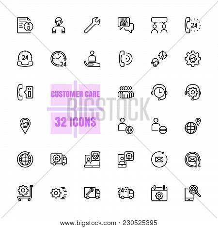 Customer Care Vector Illustration Thin Line 48x48 Pixel Perfect 32 Icon Set For Business, Customer,