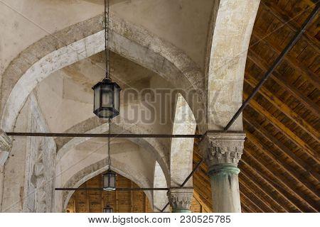 Mostar, Bosnia And Herzegovina - August 17 2017: Ceiling Detail Of Karadjoz-bey Mosque In Mostar