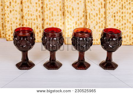 Stack Of Matzah Or Matza On A Vintage Wood Background Perfect For Your Passover Design.