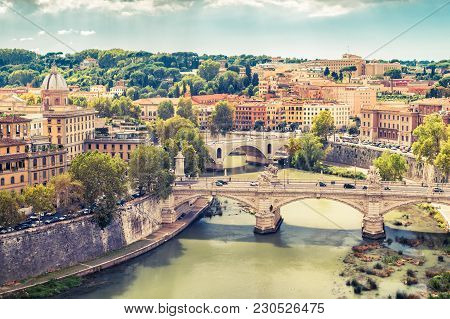Aerial Panoramic View Of Rome In Summer, Italy. Tiber River With Bridges In Rome On A Sunny Day. Rom