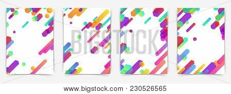 Modern Soft Bright Plastic Thin Lines Folder Templates Collection. Colorful Line Pattern Cover. Tren