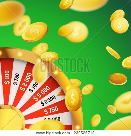 Casino Games Million Dollar Money Fortune. Realistic Lottery Wheel And Falling Dollars Over Green Ba