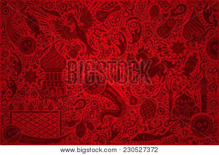 Russian Red Background World. Russia Pattern With Modern And Traditional Elements. 2018 Trend Vector