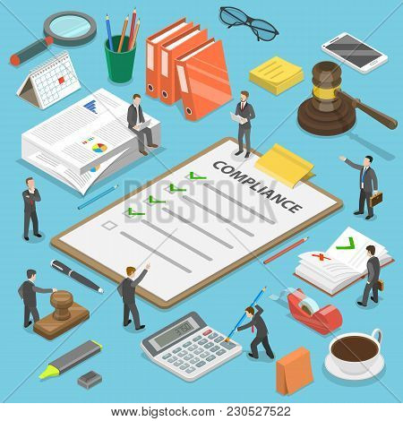 Regulatory Compliance Flat Isometric Vector Concept. Businessmen Are Discussing Steps To Comply With