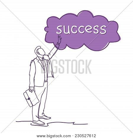 Successful Business Man Sketch Silhouette Point Finger To Cloud With Success Word Vector Illustratio