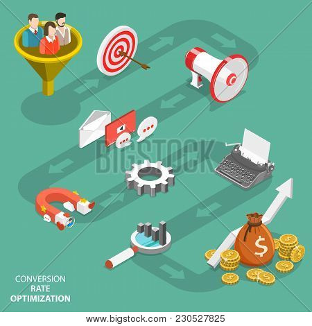 Conversion Rate Optimization Flat Isometric Vector. Represents Infographics Of Cro Process.