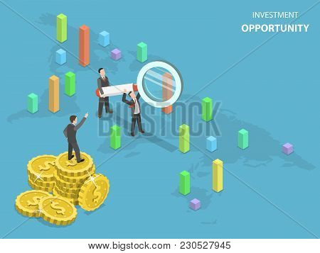 Investment Opportunity Flat Isometric Vector Concept. Business Men Using Magnifying Glass Are Search