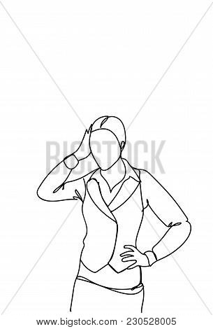 Doodle Frustrated Business Woman Holding Head Stress Or Headache Concept Vector Illustration