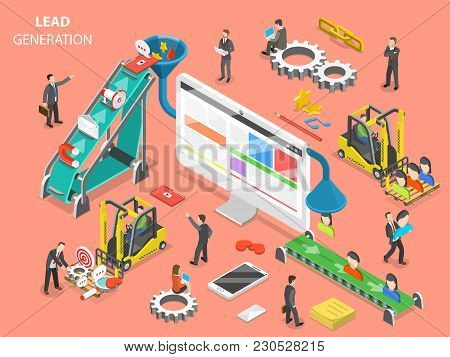 Lead Generation Flat Isometric Vector Concept. People Are Loading Digital Marketing Attributes Into