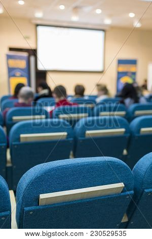 Business Meetings Concepts. Group Of People In Congress Hall Prior To The Meeting Start.vertical Ima
