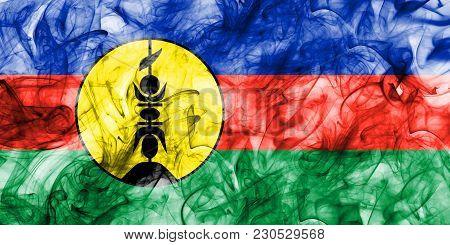Flnks Smoke Flag, New Caledonia On A White Background