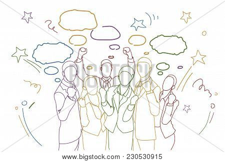 Cheerful Group Of Businesspeople Holding Raised Hands Happy Successful Team Colorful Doodle Silhouet