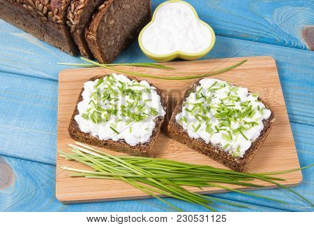 Sandwiches With Granulated White Cheese And Chives. Healthy Breakfast Concept.