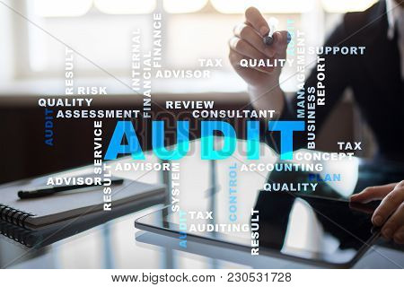 Audit Business Concept Auditor. Compliance. Virtual Screen Technology. Words Cloud