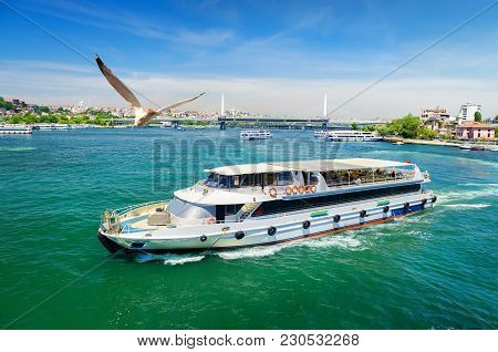 Touristic Boats In Golden Horn Bay Of Istanbul And View On Suleymaniye Mosque, Turkey