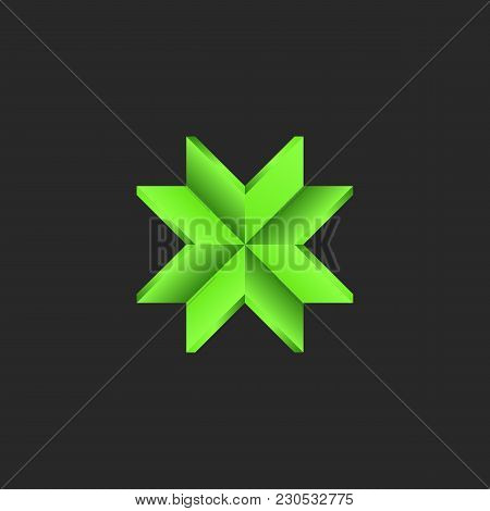 Arrows Logo Converge At A Center Point Green Paper Material, Sacred Pattern Of Intersection 4 Arrows