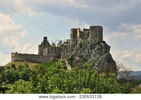 Beautiful Old Castle On The Hill. Landscape With Architecture. Beckov-slovak Republic.
