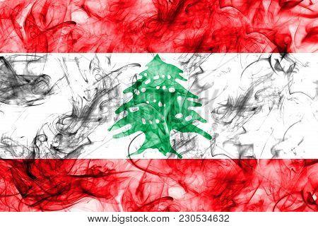 Lebanon Smoke Flag On A White Background