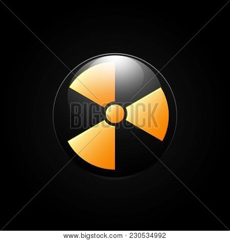 Nuclear Radiation Abstract Symbol On A Black Background. Vector Sign