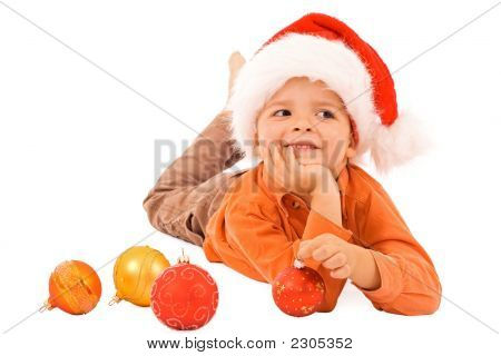 Boy Dreaming About Christmas - Isolated
