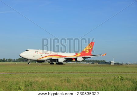 Amsterdam, The Netherlands - June 9th 2016: B-2432 Yangtze River Express Boeing 747-481, Takeoff Fro