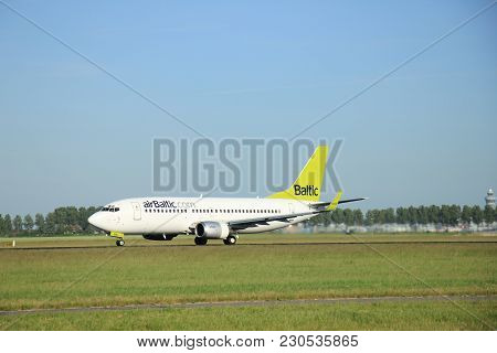Amsterdam The Netherlands - June 9th, 2016: Yl-bbl Air Baltic Boeing 737-33v(wl)   Takeoff Fro Polde