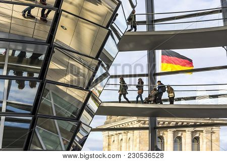 Berlin, Germany - September 20, 2017: People Walking Inside The Reichstag Dome. It Is A Glass Dome C