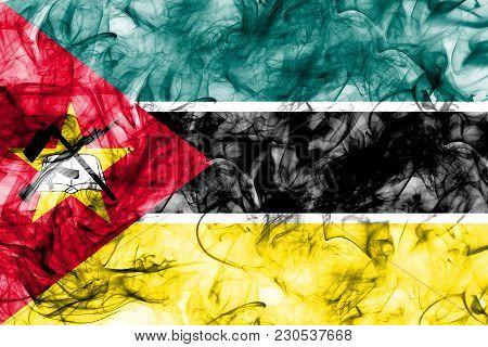Mozambique Smoke Flag On A White Background